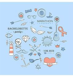 Sea doodle hipster set over light blue vector