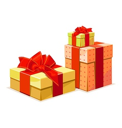 Gift box a gift box in 3 color versions vector