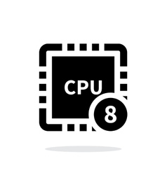 Eight core cpu simple icon on white background vector