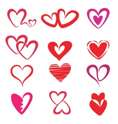 Stylized hearts collection vector