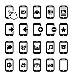 Mobile or cell phone smartphone contact icons vector