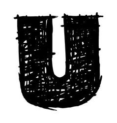 U - hand drawn character sketch font vector
