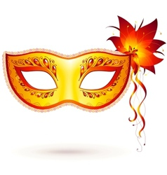 Yellow venitian carnival mask vector
