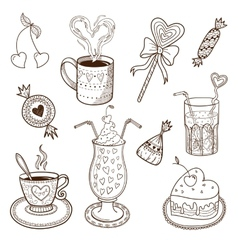 Collection of drinks and sweets vector