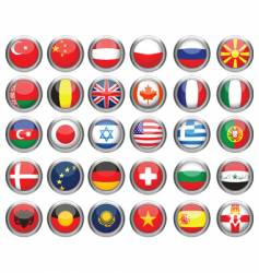 Set of flags glossy buttons vector