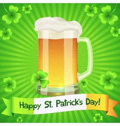 Patricks day card with pint of light beer vector