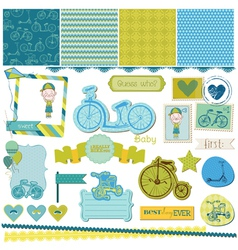 Baby bicycle set vector
