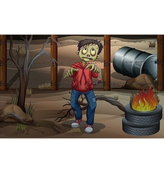A zombie near the burning tires vector