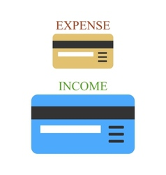 Two bank cards as sings of income and expense vector