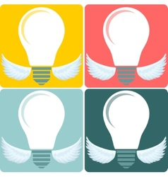 Icon set light bulb lamp as emblem or logo vector
