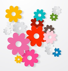 Paper cut colorful flowers set vector