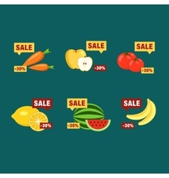 Supermarket food products with price labels vector