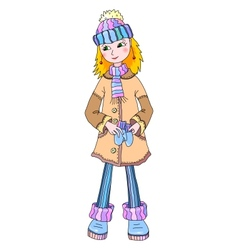 Nice young girl in winter wear vector