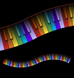 Curved piano keyboard colors vector
