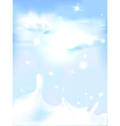 Splash of milk - with blue sky background vector