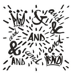 Ampersand and and typo set vector