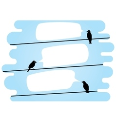 Chatting birds on wires vector