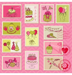 Birthday postage stamps vector