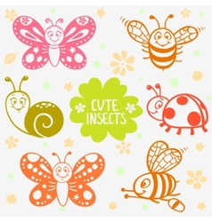 Cute insects silhouette vector
