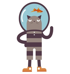 Cartoon cat with fish vector