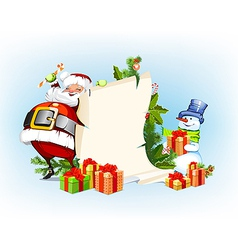 Santa claus and snowman standing next to a scroll vector