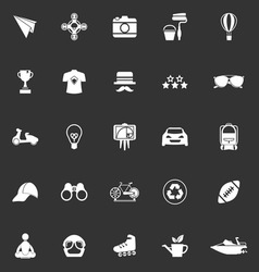 Hipster icons on gray background vector