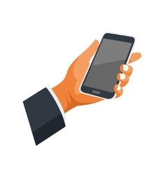 Mobile phone in hand icon on white background vector