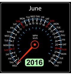 2016 year calendar speedometer car june vector