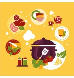 Healthy fresh food depicting cooking process vector