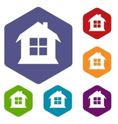 House rhombus icons vector