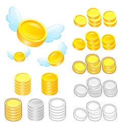 Diverse styles of gold coin sets vector