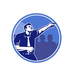 Businessman pointing forward woodcut vector