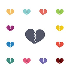 Broken heart flat icons set vector