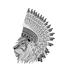 Lion face in feathered war bannet in zentangle vector