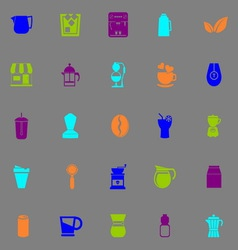 Coffee and tea icons fluorescent color on gray vector