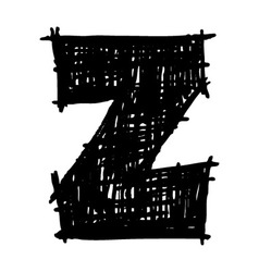 Z - hand drawn character sketch font vector