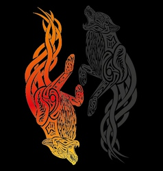 Tribal spirit fire wolf with black wolf vector
