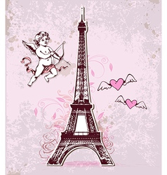 Vintage card with eiffel tower and cupid vector
