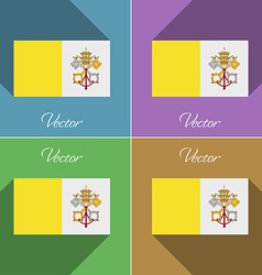 Flags vatican cityholy see set of colors flat vector