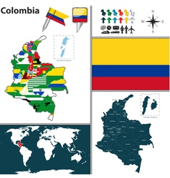 Colombia map with regions and flags vector