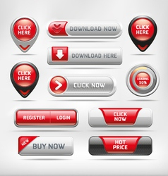 Red glossy web elements button set vector