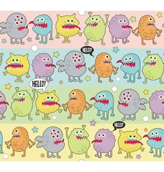 Cute monsters seamless background with stars vector