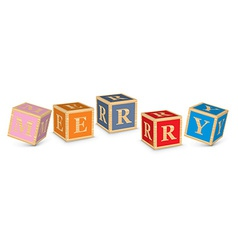 Word merry written with alphabet blocks vector