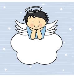 Angel wings on a cloud vector