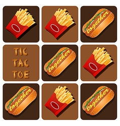 Tic-tac-toe of hot dog and fried potatoes vector