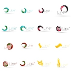 Set of swirl wave lines circle logo icons vector