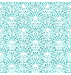 Art deco floral pattern in tropical blue vector