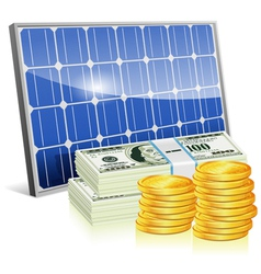Solar panel with money vector