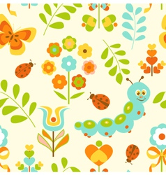 Seamless pattern with cute caterpillar vector