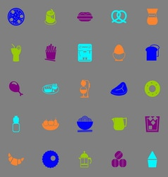 Easy meal icons fluorescent color on gray vector